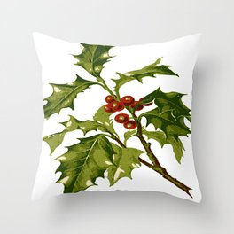 Holly Christmas Red Berry Throw Pillow