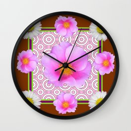 Coffee Brown Shasta Daisy Pink Roses Abstract Art Wall Clock