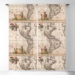 North & South America map 1658 with 2017 enhancements Blackout Curtain