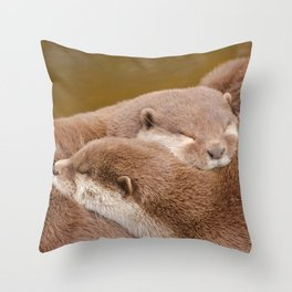 Cuddling Up Together - Otterly Cute Throw Pillow