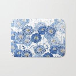 blue indigo dandelion pattern watercolor Bath Mat