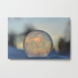 Frozen Rainbow bubble Metal Print
