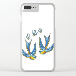 Flock Of Cute Tattoo Style Swallows Vector Clear iPhone Case