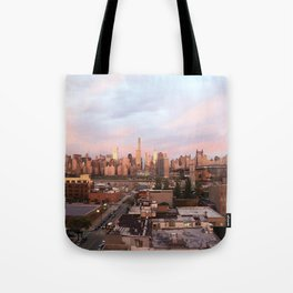 Manhattan City Skyline from Queens at Sunrise Tote Bag