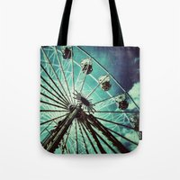 ferris wheel Tote Bags featuring Ferris Wheel by Angela Bruno