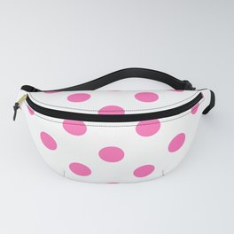XX Large Light Hot Pink Polka Dots on White Fanny Pack