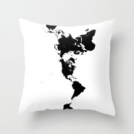 Dymaxion World Map (Fuller Projection Map) - Minimalist Black on White Throw Pillow