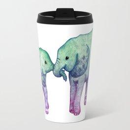 Baby Elephant Love - ombre mint & purple Travel Mug