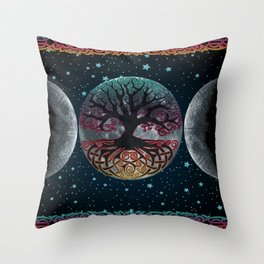 Autumn Esoteric Triple Moon V2 Throw Pillow