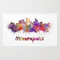 minneapolis Area & Throw Rugs featuring Minneapolis skyline in watercolor by Paulrommer
