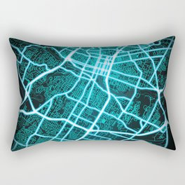 Austin, TX, USA, Blue, White, Neon, Glow, City, Map Rectangular Pillow