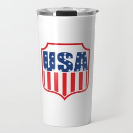 "Nice American Flag Shirt Theme Saying ""1885 USA"" T-shirt Design Soccer Field Goal Run Champion Champ Travel Mug"