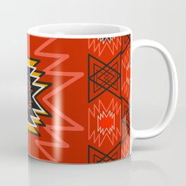 Ethnic lines in red Coffee Mug