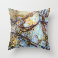 dragon ball z Throw Pillows featuring Marble by Patterns and Textures