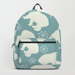 Polar Bears and Snowflakes - blue Backpack