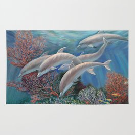 Happy Family - Dolphins Are Awesome Rug