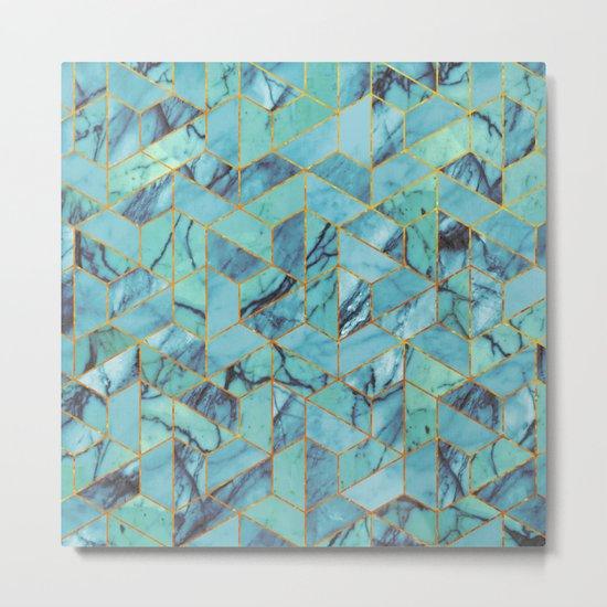 Blue Marble Hexagonal Pattern Metal Print
