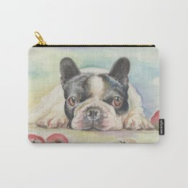 FRENCH BULLDOG with Apples Watercolor painting Carry-All Pouch