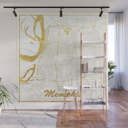 Memphis Map Gold Wall Mural