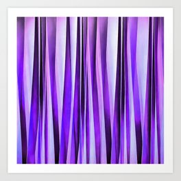 Luxurious Lilac, Purple and Silver Stripy Pattern Art Print