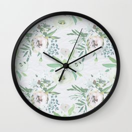 Blush pink white green watercolor modern floral berries pattern Wall Clock