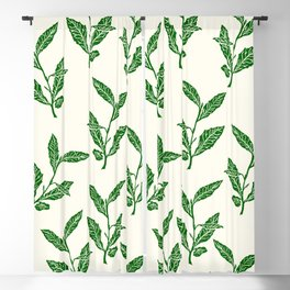 Green Tea Leaf Block Print Blackout Curtain