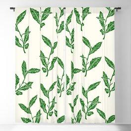 Green Tea Leaf Block Print Blackout Curtain