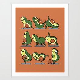 Avocado Yoga For A Flat Tummy Art Print