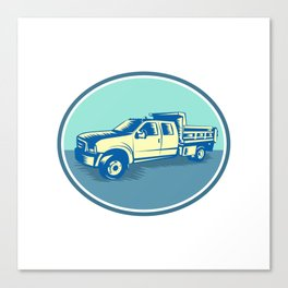 Tipper Pick-up Truck Oval Woodcut Canvas Print