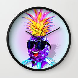 Pineapple Ultraviolet Happy Dude with Sunglasses Wall Clock