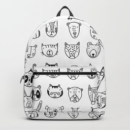 Wild Animal Portraits in Black and White Backpack