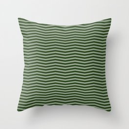 Dark Forest Green Chevron Zigzag Stripes Throw Pillow