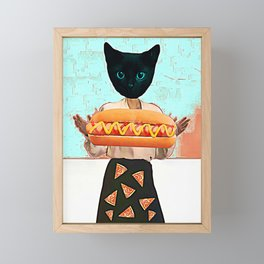 Let there be hot dogs and pizza rain Framed Mini Art Print