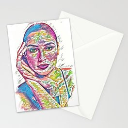 Beautiful GAL Fan Art Abstract Portrait Stationery Cards