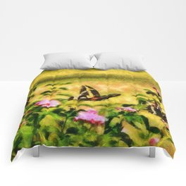 Three Giant Swallowtails - Monet Style Comforters