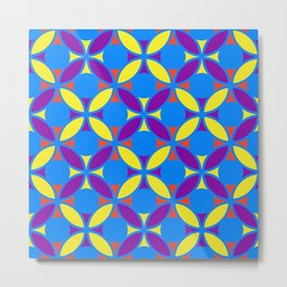 Geometric Floral Circles Vibrant Color Challenge In Bold Red Yellow Purple & Blue Metal Print