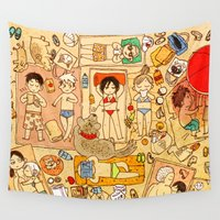 attack on titan Wall Tapestries featuring Attack on beach by Aleksandra Chabros aka Adelaida