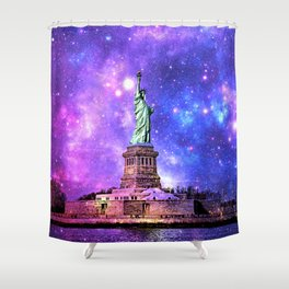 space Statue of Liberty Shower Curtain