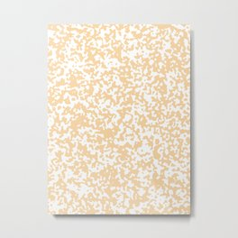 Small Spots - White and Sunset Orange Metal Print