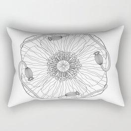 Poppy Flower Mandala - Color Your Own  Rectangular Pillow