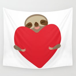 Valentines day card. Funny sloth with a red heart Wall Tapestry
