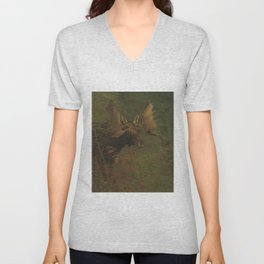 Vintage Painting of a Bull Moose Unisex V-Neck