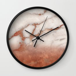 Shiny Copper Metal Foil Gold Ombre Bohemian Marble Wall Clock