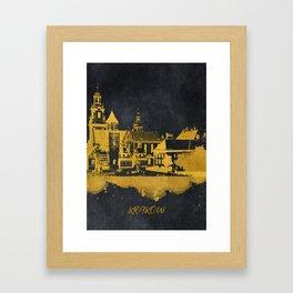 Krakow skyline gold black #cracow Framed Art Print