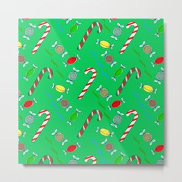Candy Cane in Green, Christmas Metal Print