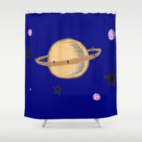 saturn Shower Curtains featuring Saturn by Probably Plaid