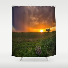 Autumn Sunset - Flowers and Tree on Oklahoma Plains Shower Curtain