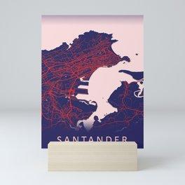 Santander, Spain, Blue, White, City, Map Mini Art Print