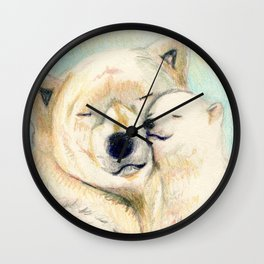 Polar bears, mother and child Wall Clock