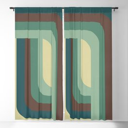 Abstract Retro Stripes Blackout Curtain